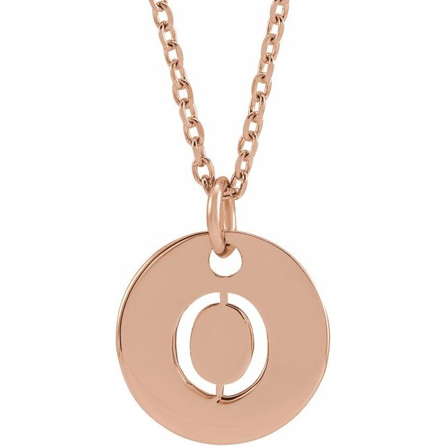18K Rose Gold-Plated Sterling Silver Initial O 10 mm Disc 16-18