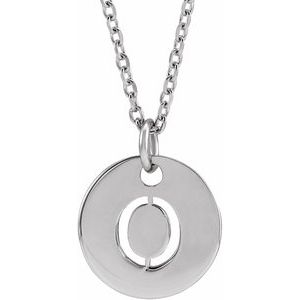 "14K White Initial O 16-18"" Necklace"