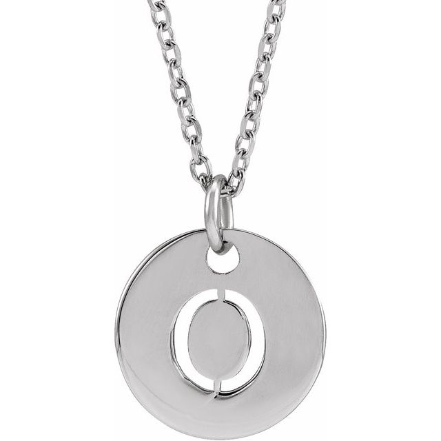 Sterling Silver Initial O 10 mm Disc 16-18
