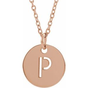 """18K Rose Gold-Plated Sterling Silver Initial P 10 mm Disc 16-18"""" Necklace"""