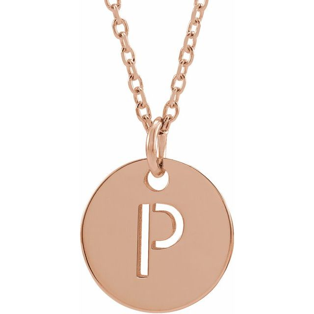 18K Rose Gold-Plated Sterling Silver Initial P 10 mm Disc 16-18