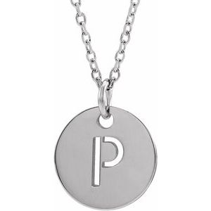 "14K White Initial P 10 mm Disc 16-18"" Necklace"
