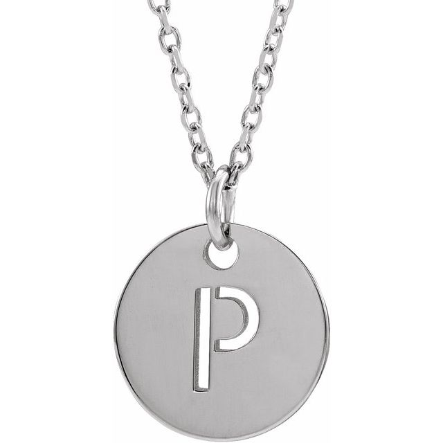 Sterling Silver Initial P 10 mm Disc 16-18