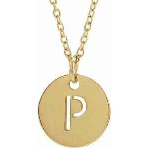 "14K Yellow Initial P 10 mm Disc 16-18"" Necklace"