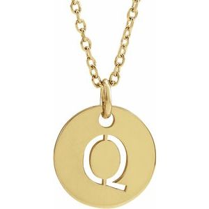 "14K Yellow Initial Q 10 mm Disc 16-18"" Necklace"