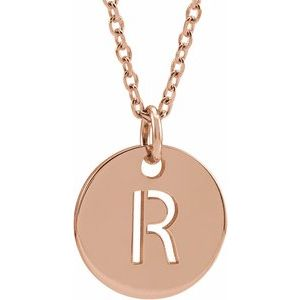 "18K Rose Gold-Plated Sterling Silver Initial R 10 mm Disc 16-18"" Necklace"