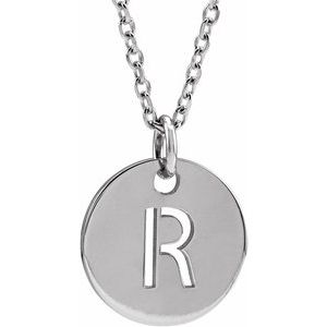 """14K White Initial R 10 mm Disc 16-18"""" Necklace"""