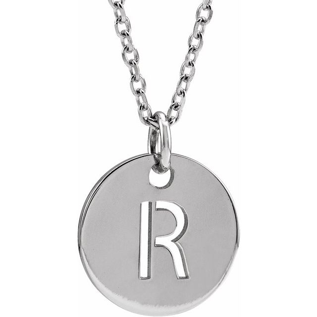 Sterling Silver Initial R 10 mm Disc 16-18