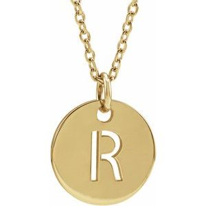"18K Yellow Gold-Plated Sterling Silver Initial R 10 mm Disc 16-18"" Necklace"