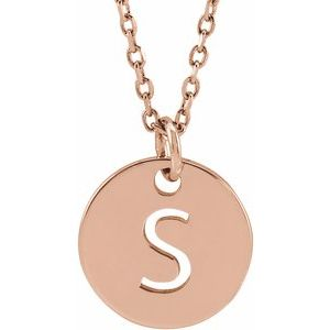 """14K Rose Initial S 10 mm Disc 16-18"""" Necklace"""