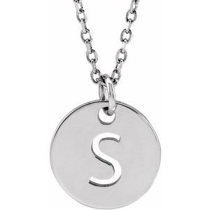 "14K White Initial S 10 mm Disc 16-18"" Necklace"
