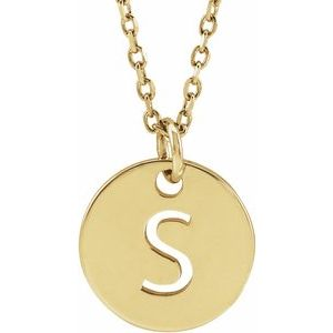 """14K Yellow Initial S 10 mm Disc 16-18"""" Necklace"""