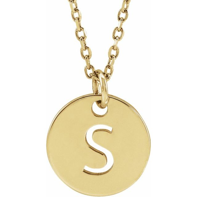 14K Yellow Initial S 10 mm Disc 16-18
