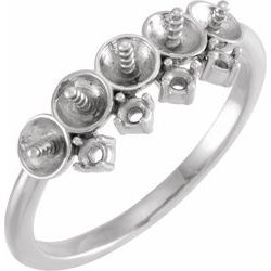 Neosadený / striebro / Vyleštený / Pearl Stackable Ring Mounting