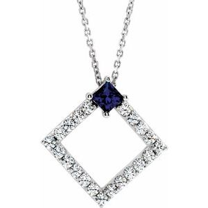 "14K White Blue Sapphire & 3/8 CTW Diamond 16-18"" Necklace"