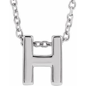 "14K White Initial H Slide Pendant 16-18"" Necklace"