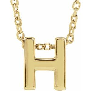 "14K Yellow Initial H Slide Pendant 16-18"" Necklace"