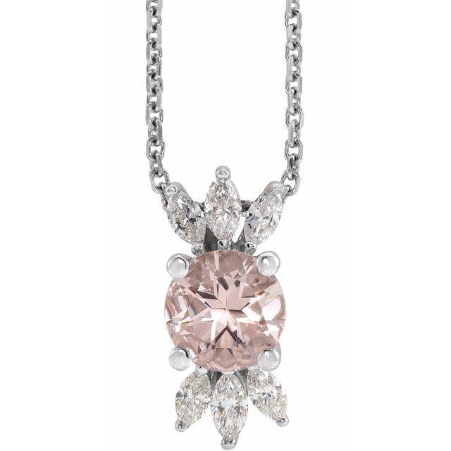 14K White Pink Morganite & 1/4 CTW Diamond 16-18