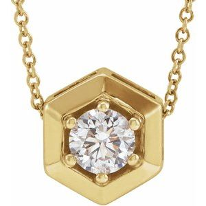 "14K Yellow 1/2 CT Lab-Grown Diamond Geometric 16-18"" Necklace"
