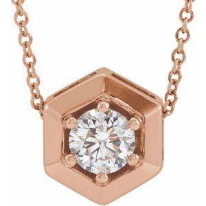 """14K Rose 1/2 CT Lab-Grown Diamond Geometric 16-18"""" Necklace"""