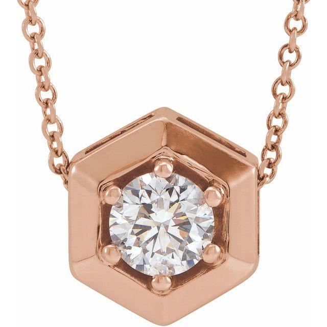 14K Rose 1/2 CT Lab-Grown Diamond Geometric 16-18