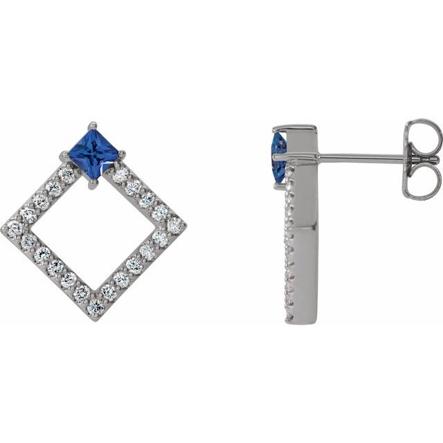 14K White Blue Sapphire & 1/3 CTW Diamond Earrings