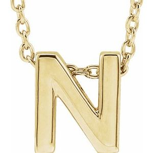"14K Yellow Initial N Slide Pendant 16-18"" Necklace"