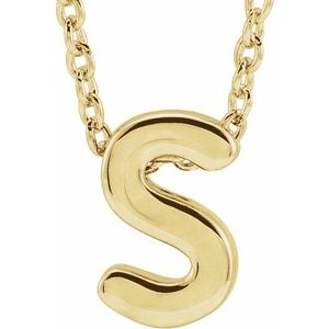 "14K Yellow Initial S Slide Pendant 16-18"" Necklace"