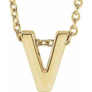 "14K Yellow Initial V Slide Pendant 16-18"" Necklace"