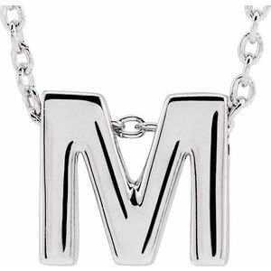 "14K White Initial M Slide Pendant 16-18"" Necklace"