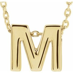 "14K Yellow Initial M Slide Pendant 16-18"" Necklace"