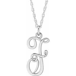 """Sterling Silver Script Initial F 16-18"""" Necklace"""