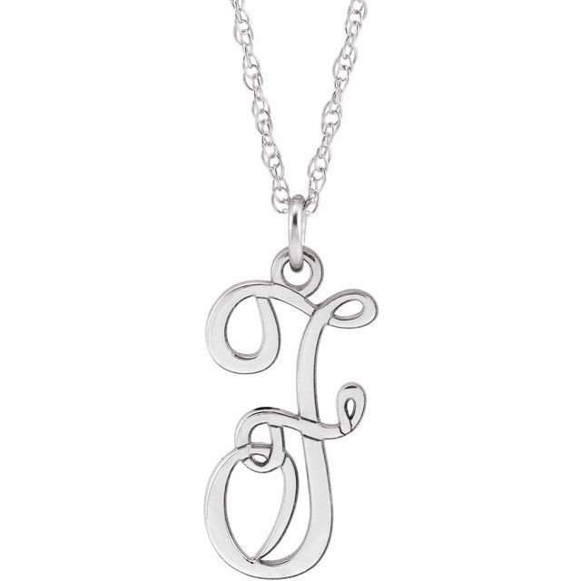 Sterling Silver Script Initial F 16-18