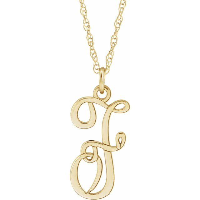 14K Yellow Gold-Plated Sterling Silver Script Initial F 16-18