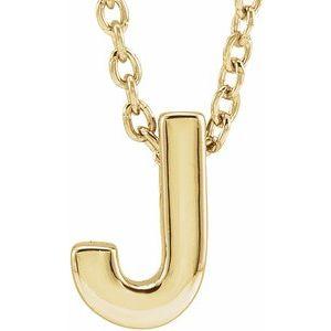 "14K Yellow Initial J Slide Pendant 16-18"" Necklace"
