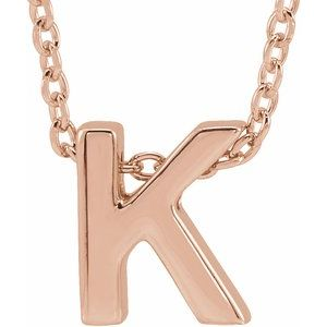 "14K Rose Initial K Slide Pendant 16-18"" Necklace"