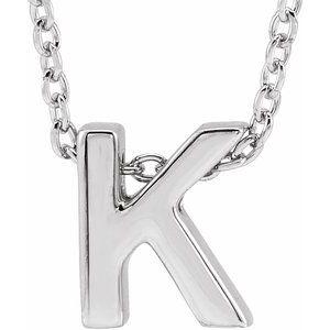 """14K White Initial K Slide Pendant 16-18"""" Necklace"""