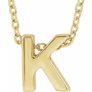 "14K Yellow Initial K Slide Pendant 16-18"" Necklace"