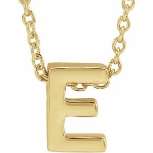 "14K Yellow Initial E Slide Pendant 16-18"" Necklace"