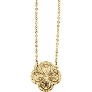 """14K Yellow 18"""" Clover Necklace"""