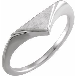 14K White 11.5x6 mm Geometric Signet Ring