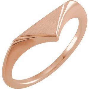 14K Rose 11.5x6 mm Geometric Signet Ring