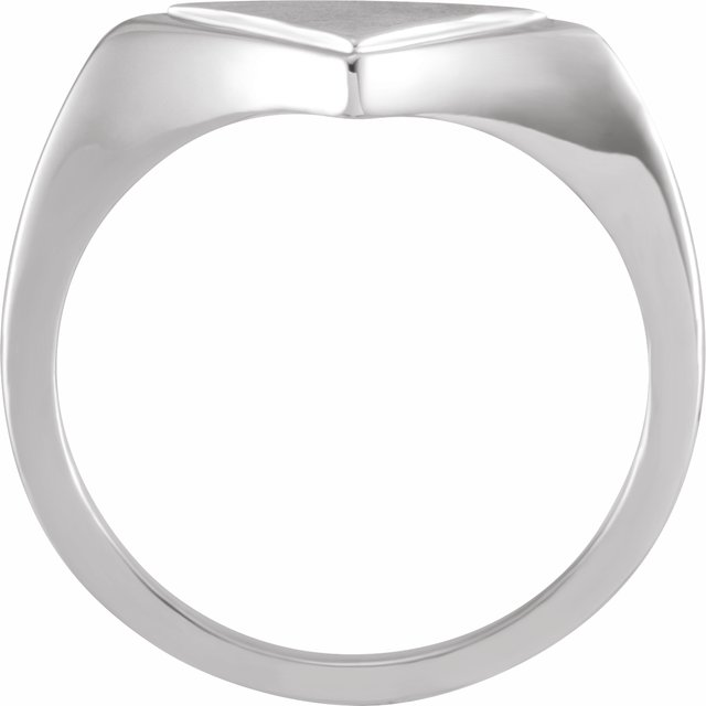 14K White 11.5x6 mm Geometric Signet Ring