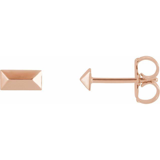 14K Rose Geometric Stud Earrings