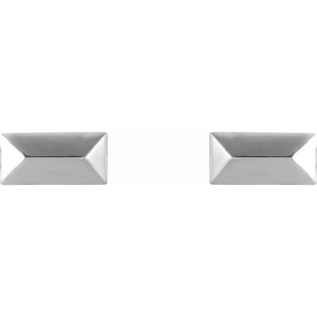 14K White Geometric Stud Earrings