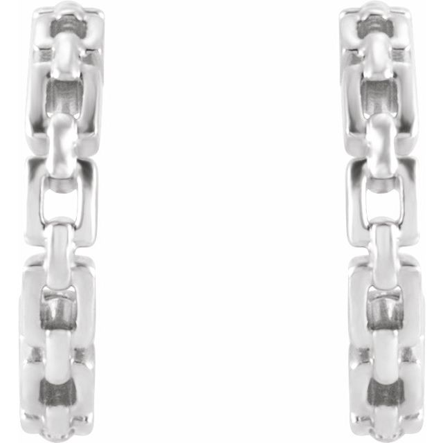 14K White 10.23 mm Chain Link Huggie Earrings