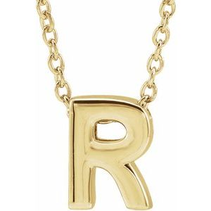 """14K Yellow Initial R Slide Pendant 16-18"""" Necklace"""