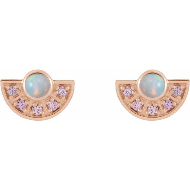 14K Rose Ethiopian Opal & Pink Sapphire Fan Earrings