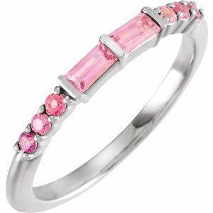 14K White Pink Multi-Gemstone Stackable Ring