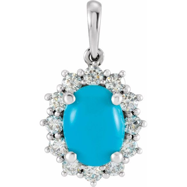 14K White Turquoise & 1/3 CTW Diamond Pendant